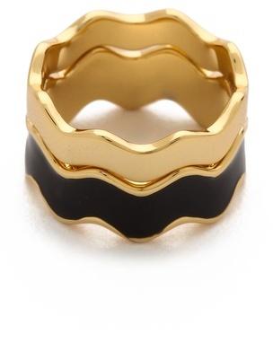 Gorjana Zigzag Enamel Double Ring Set