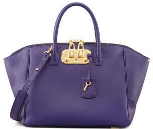 VBH Brera Leather Satchel Bag, Purple