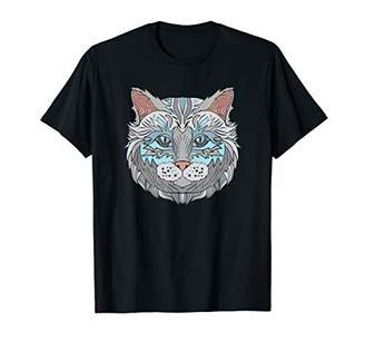 Cool Blue Cat Face Artistic Illustration Graphic Tee Shirt