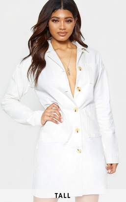 PrettyLittleThing Tall White Tortoise Button Long Sleeve Denim Dress