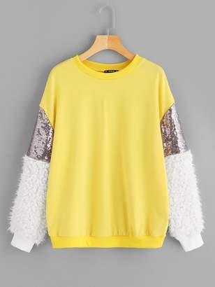 Shein Contrast Faux Fur Sleeve Sweatshirt