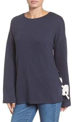 Caslon Lace-Up Side Sweatshirt (Petite)