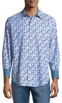 Robert Graham Three Quarter Sleeve Cotton Button-Down