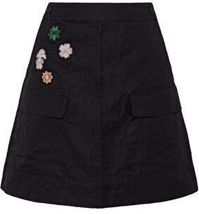 Tomas Maier Floral-Appliquéd Cady Mini Skirt