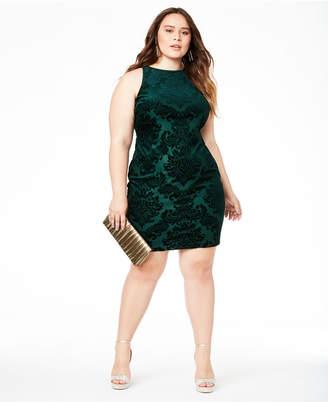 B. Darlin Trendy Plus Size Velvet Burnout Bodycon Dress