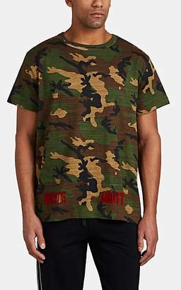 Off-White MEN'S FLOCKED CAMOUFLAGE-PRINT COTTON T-SHIRT - BEIGE/KHAKI SIZE S