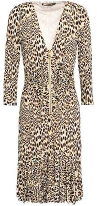 cfb8ac9128 Roberto Cavalli Knotted Leopard-print Stretch-crepe Dress