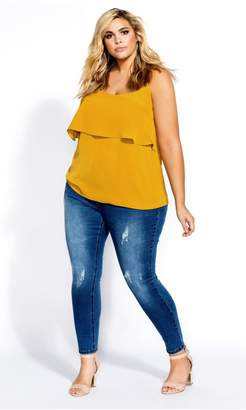 City Chic Sweet Tier Cami - gold