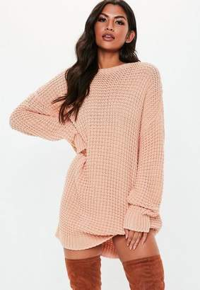 Missguided Nude Oversized Chunky Knit Sweater Dress
