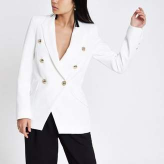 River Island Womens White double breasted tux jacket