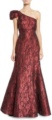 Aidan Mattox One-Shoulder Jacquard Ball Gown