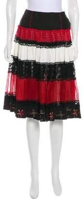 Jean Paul Gaultier Silk-Paneled A-Line Skirt