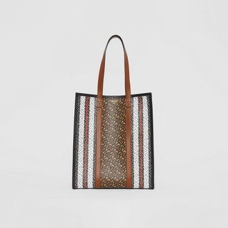 Burberry Monogram Stripe E-canvas Portrait Tote Bag
