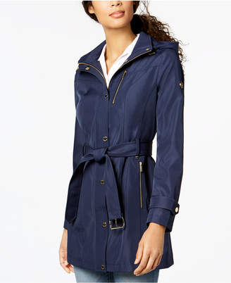 Michael Kors MICHAEL Hooded Belted Softshell Coat