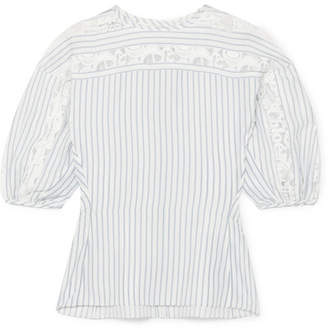 Chloé Lace-trimmed Pinstriped Silk Blouse - Ivory