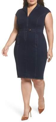 Marina Rinaldi ASHLEY GRAHAM X Darsen Jersey Denim Body-Con Dress (Navy Blue) (Regular & Plus Size)
