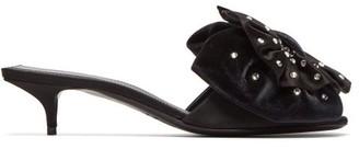 Balenciaga Crystal Embellished Bow Velvet Mules - Womens - Black