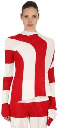 Marques Almeida Asymmetrical Striped Rib Knit Sweater