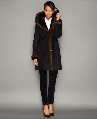 The Fur Vault Mink-Fur-Trim Hooded Shearling Lamb Coat $4,495 thestylecure.com