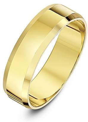 Theia Unisex 9ct Yellow Gold Super Heavy Flat Shape Bevelled Edge Polished 4mm Wedding Ring - Size L
