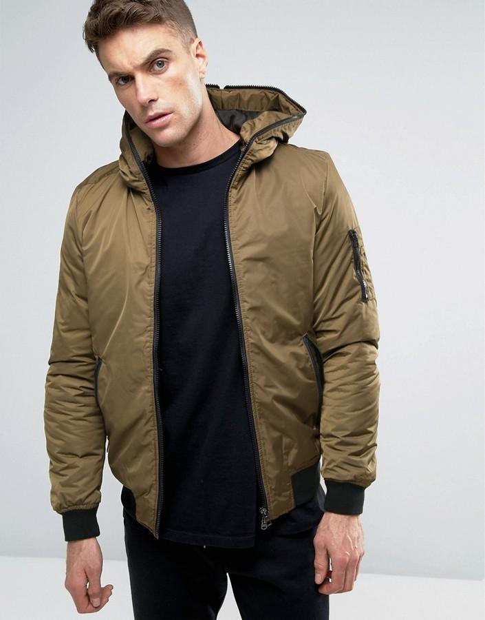 Pull&Bear Ma1 Bomber Jacket With Hood In Khaki