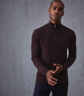 Reiss Blackhall - Merino Wool Zip Neck Jumper in Bordeaux