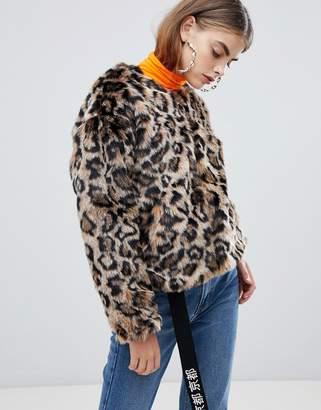 Bershka faux fur leopard jacket in multi