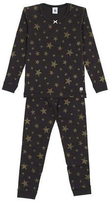 Petit Bateau Girls Black 2 Piece Set Pajamas with Gold Lurex Stars Sizes 2-12 Style 51121