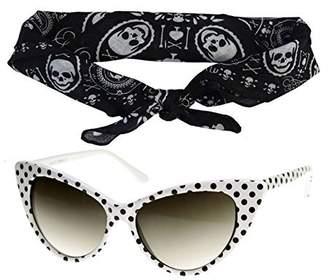 Cat Eye DangerousFX 50s Polka Dot Sunglasses Black Bandana Tie Headband Set