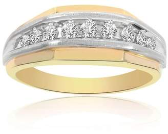 14K Yellow and White Gold 1.00 Ct Round Cut Channel Setting Diamond Ring Size 12