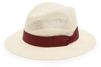 Dolce & Gabbana Grosgrain Trim Woven Paper Panama Hat - Mens - Beige