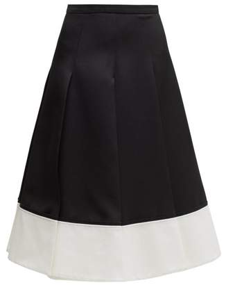 Rochas Contrast Hem Pleated Wool Twill Skirt - Womens - Black White