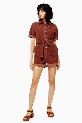 Topshop Womens Petite Seattle Button Corduroy Playsuit - Raspberry