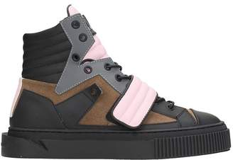 Gienchi Hypnos Black Brown Leather And Suede Sneakers