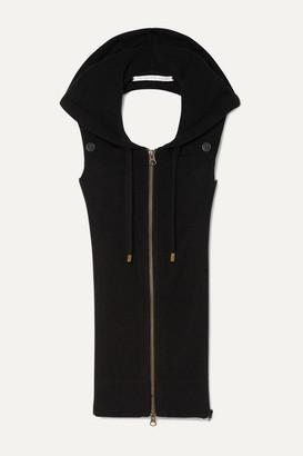 Veronica Beard Hooded Open-back Cashmere Vest - Black