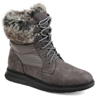 Journee Collection Flurry Women's Faux-Fur Lace-Up Boots