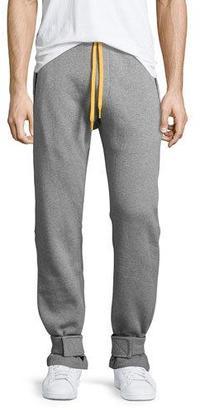 Moncler Cotton Sweatpants w/Yellow Accents, Gray $755 thestylecure.com