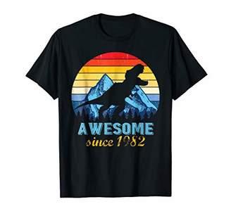 Awesome 1982 36th Birthday Vintage Dinosaur Tshirt
