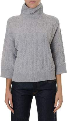 Max Mara High Collar Grey Wool-cashmere Blend