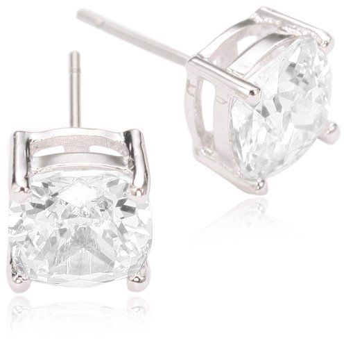 CZ by Kenneth Jay Lane Rhodium-Plated Cushion Cut Cubic Zirconia Stud Earrings