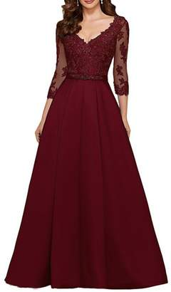 QiJunGe Modest 3/4 Sleeve Long Appliqued Prom Evening Gowns V Neck Formal Dress US