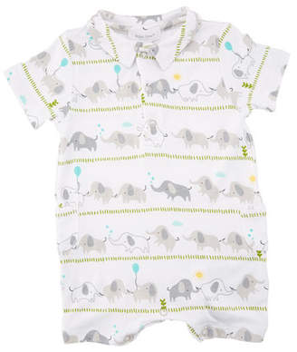 Angel Dear Elephant Stripe Polo Shortall, Size 0-12 Months