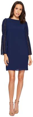 Adrianna Papell Trapeze Swing Dress with Lace Trimmed Bell Sleeves Women's Dress