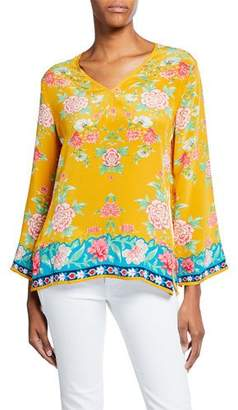 Tolani Plus Size Simone Saffron-Print V-Neck Long-Sleeve Silk Tunic