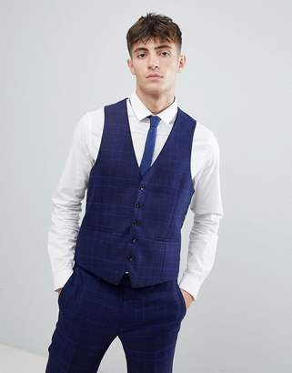 Moss Bros skinny vest with stretch in flannel check