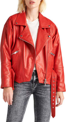 Hudson Cropped Moto Leather Jacket