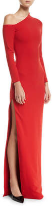 SOLACE London One-Shoulder High-Slit Crepe-Knit Gown