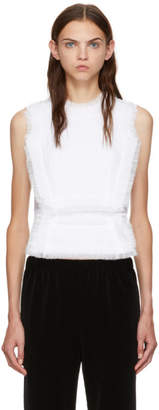 Comme des Garcons White Georgette Panelled Tank Top
