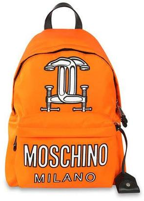 Moschino Logo-Print Tech-Fabric Backpack, Orange $1,200 thestylecure.com