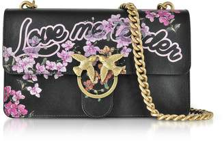 Pinko Love Me Tender Flowers Black Eco Leather Shoulder Bag